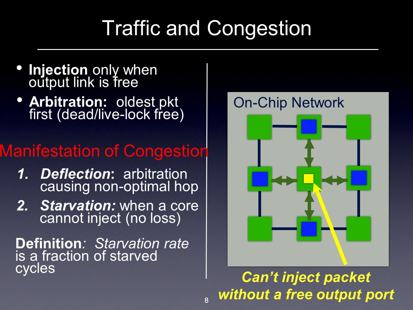 9 Outline Bufferless On-Chip Networks: Congestion & Scalability  Study of congestion at network and application layers  Impact of congestion on scalability Novel application-aware congestion control mechanism Evaluation of congestion control mechanism  Able to effectively scale the network  Improve system throughput up to 27%