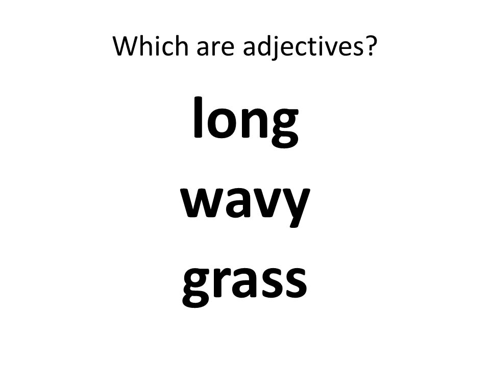 Which are adjectives? long wavy grass