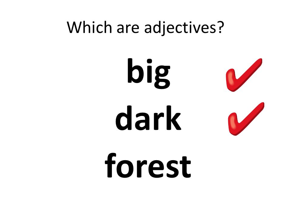 Which are adjectives? big dark forest