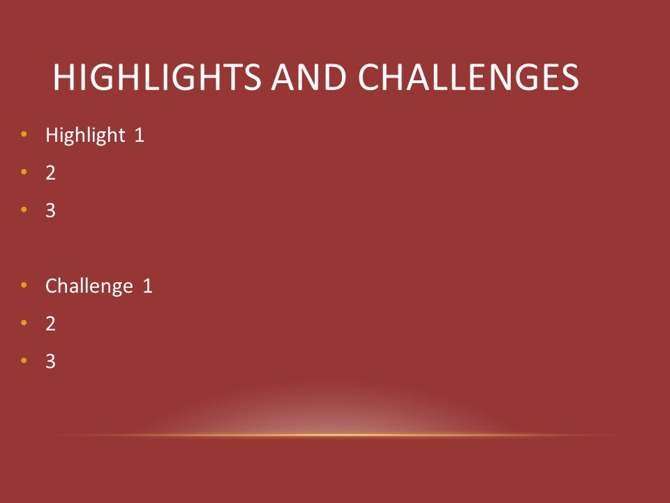 HIGHLIGHTS AND CHALLENGES Highlight 1 2 3 Challenge 1 2 3
