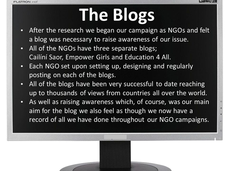 The Blogs After the research we began our campaign as NGOs and felt a blog was necessary to raise awareness of our issue. All of the NGOs have three s