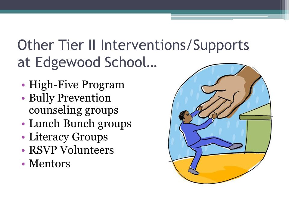 Other Tier II Interventions/Supports at Edgewood School… High-Five Program Bully Prevention counseling groups Lunch Bunch groups Literacy Groups RSVP Volunteers Mentors