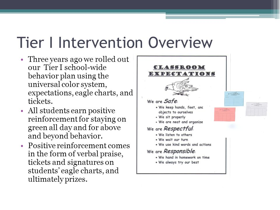 Tier I Intervention Overview Three years ago we rolled out our Tier I school-wide behavior plan using the universal color system, expectations, eagle charts, and tickets.