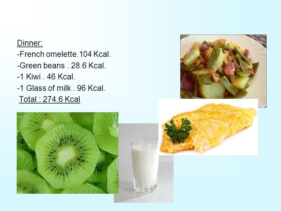 Dinner: -French omelette.104 Kcal. -Green beans. 28.6 Kcal.