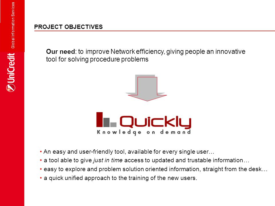 Global Information Services PROJECT OBJECTIVES Our need: to improve Network efficiency, giving people an innovative tool for solving procedure problem