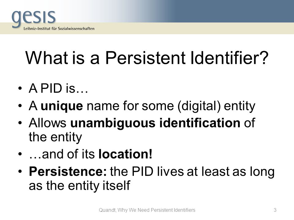 What is a Persistent Identifier.