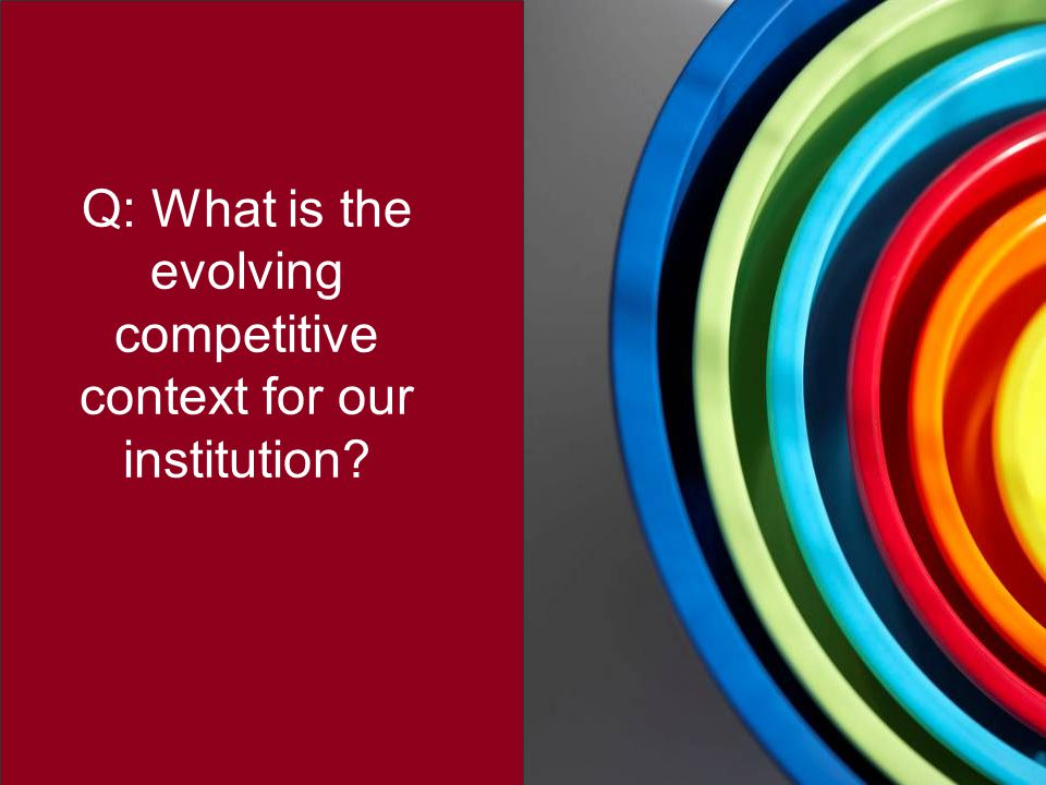Q: What is the evolving competitive context for our institution