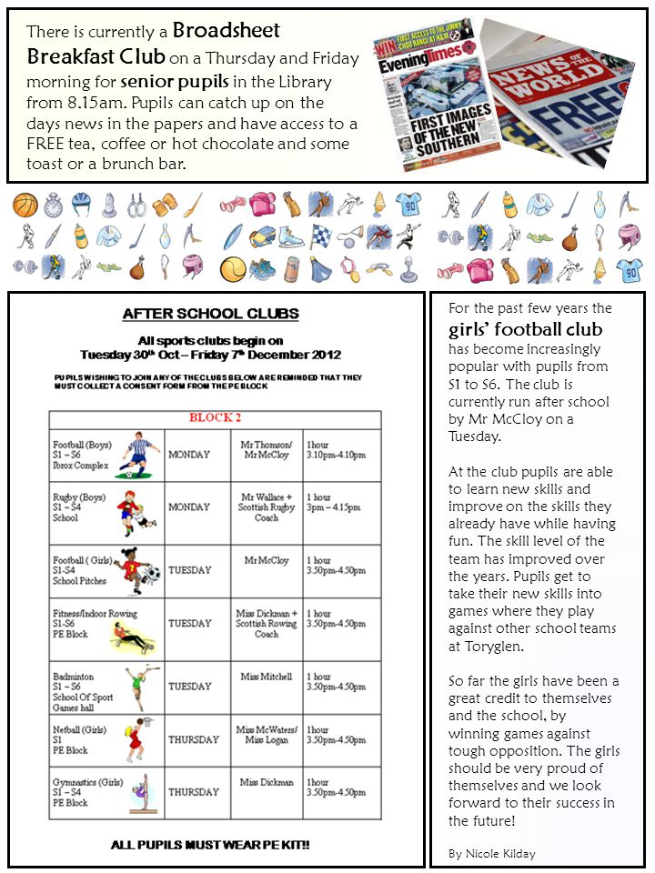 There is currently a Broadsheet Breakfast Club on a Thursday and Friday morning for senior pupils in the Library from 8.15am.