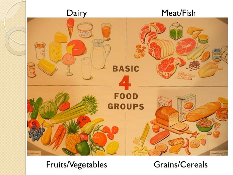 DairyMeat/Fish Grains/CerealsFruits/Vegetables