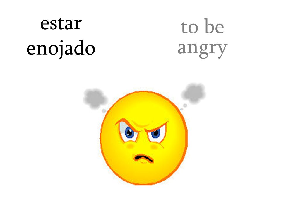 estar enojado to be angry