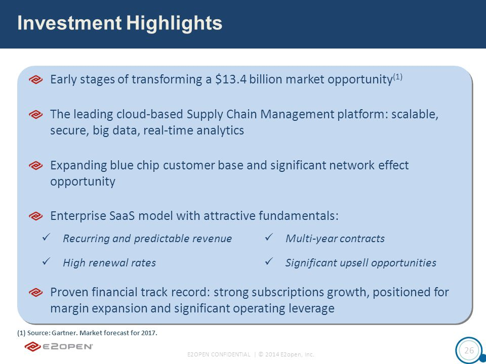 E2OPEN CONFIDENTIAL | © 2014 E2open, Inc. 26 Early stages of transforming a $13.4 billion market opportunity (1) The leading cloud-based Supply Chain