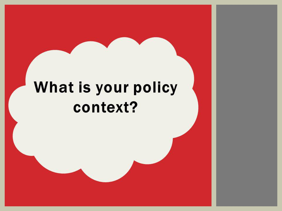 What is your policy context?