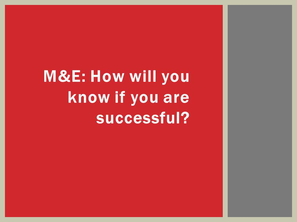 M&E: How will you know if you are successful