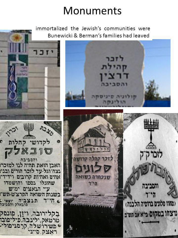 Monuments immortalized the Jewish's communities were Bunewicki & Berman's families had leaved