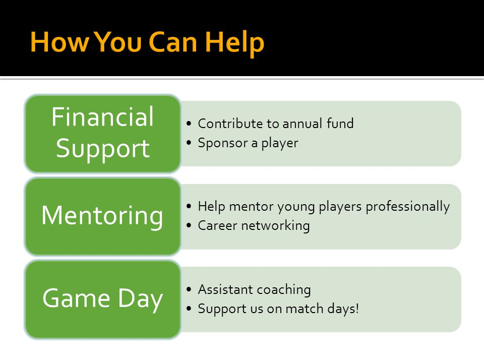 Contribute to annual fund Sponsor a player Financial Support Help mentor young players professionally Career networking Mentoring Assistant coaching S