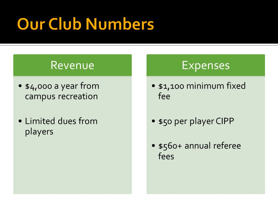 Revenue $4,000 a year from campus recreation Limited dues from players Expenses $1,100 minimum fixed fee $50 per player CIPP $560+ annual referee fees