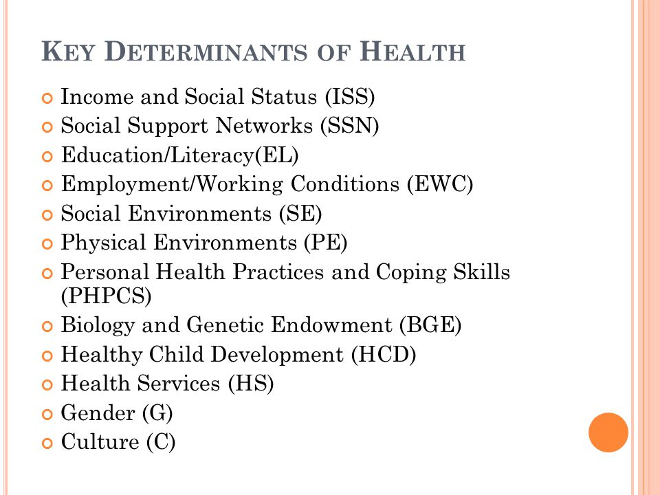 K EY D ETERMINANTS OF H EALTH Income and Social Status (ISS) Social Support Networks (SSN) Education/Literacy(EL) Employment/Working Conditions (EWC) Social Environments (SE) Physical Environments (PE) Personal Health Practices and Coping Skills (PHPCS) Biology and Genetic Endowment (BGE) Healthy Child Development (HCD) Health Services (HS) Gender (G) Culture (C)