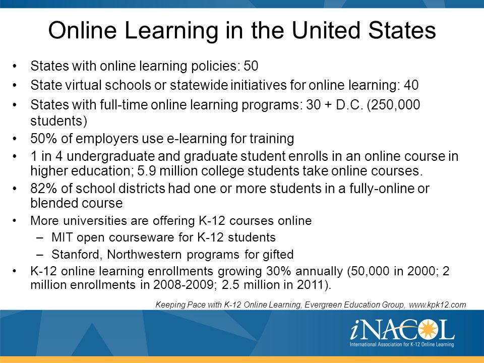 Online Learning in the United States States with online learning policies: 50 State virtual schools or statewide initiatives for online learning: 40 S