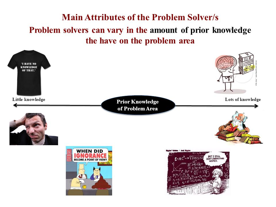Main Attributes of the Problem Solver/s Problem solvers can vary in the amount of experience they have of similar problems Lots of experience Prior Experience Similar Problem Little experience