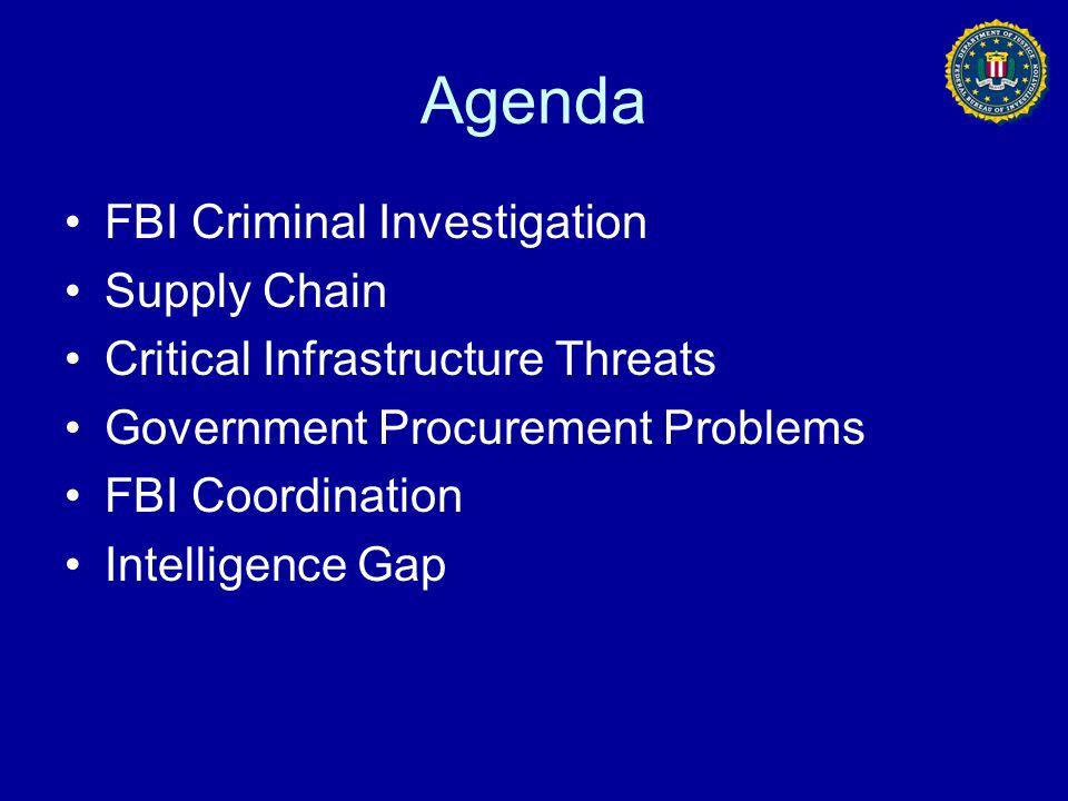 Agenda FBI Criminal Investigation Supply Chain Critical Infrastructure Threats Government Procurement Problems FBI Coordination Intelligence Gap