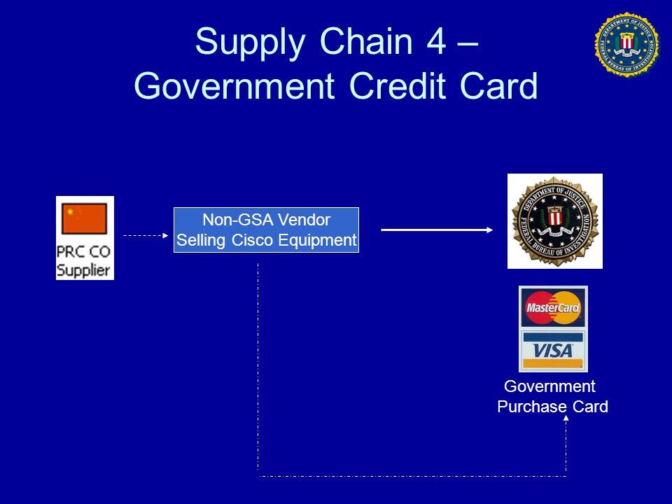 Supply Chain 4 – Government Credit Card Non-GSA Vendor Selling Cisco Equipment Government Purchase Card