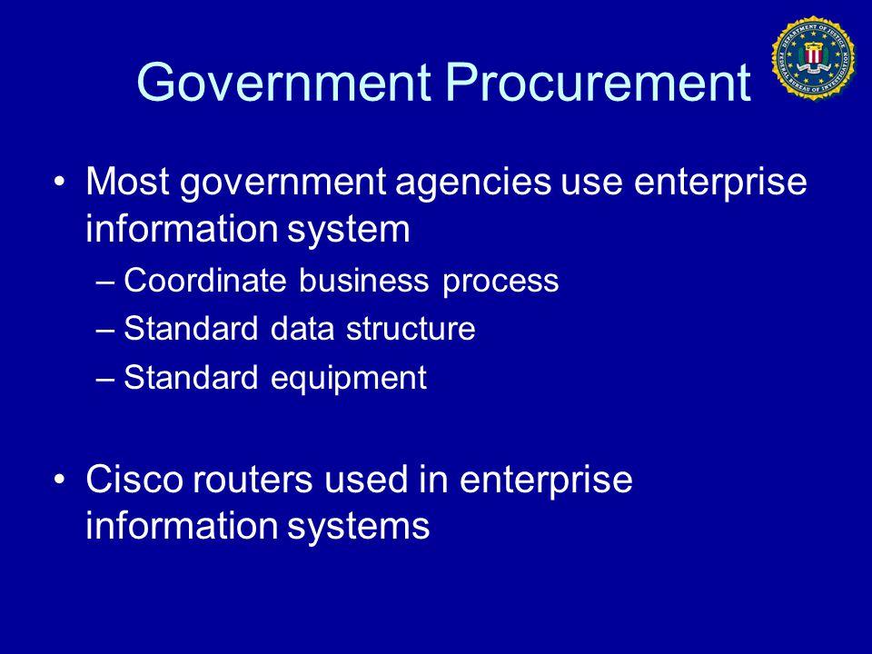 Government Procurement Most government agencies use enterprise information system –Coordinate business process –Standard data structure –Standard equi