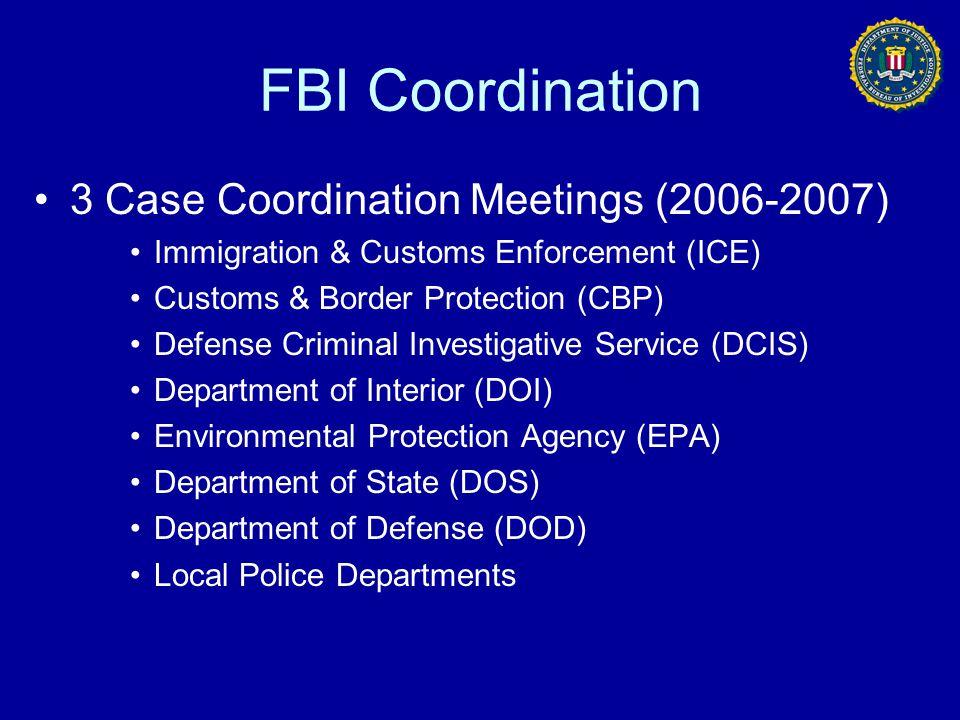 FBI Coordination 3 Case Coordination Meetings (2006-2007) Immigration & Customs Enforcement (ICE) Customs & Border Protection (CBP) Defense Criminal I