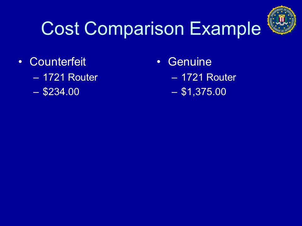 Cost Comparison Example Counterfeit –1721 Router –$234.00 Genuine –1721 Router –$1,375.00