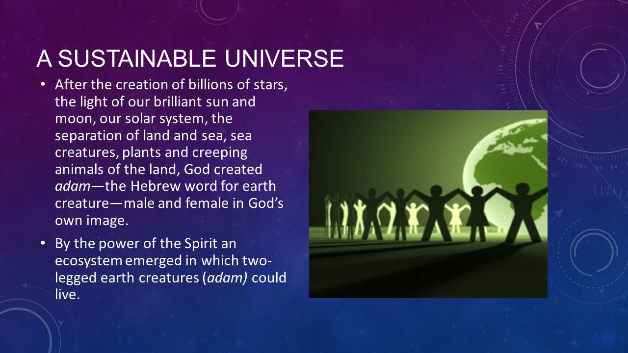 A SUSTAINABLE UNIVERSE After the creation of billions of stars, the light of our brilliant sun and moon, our solar system, the separation of land and sea, sea creatures, plants and creeping animals of the land, God created adam—the Hebrew word for earth creature—male and female in God's own image.