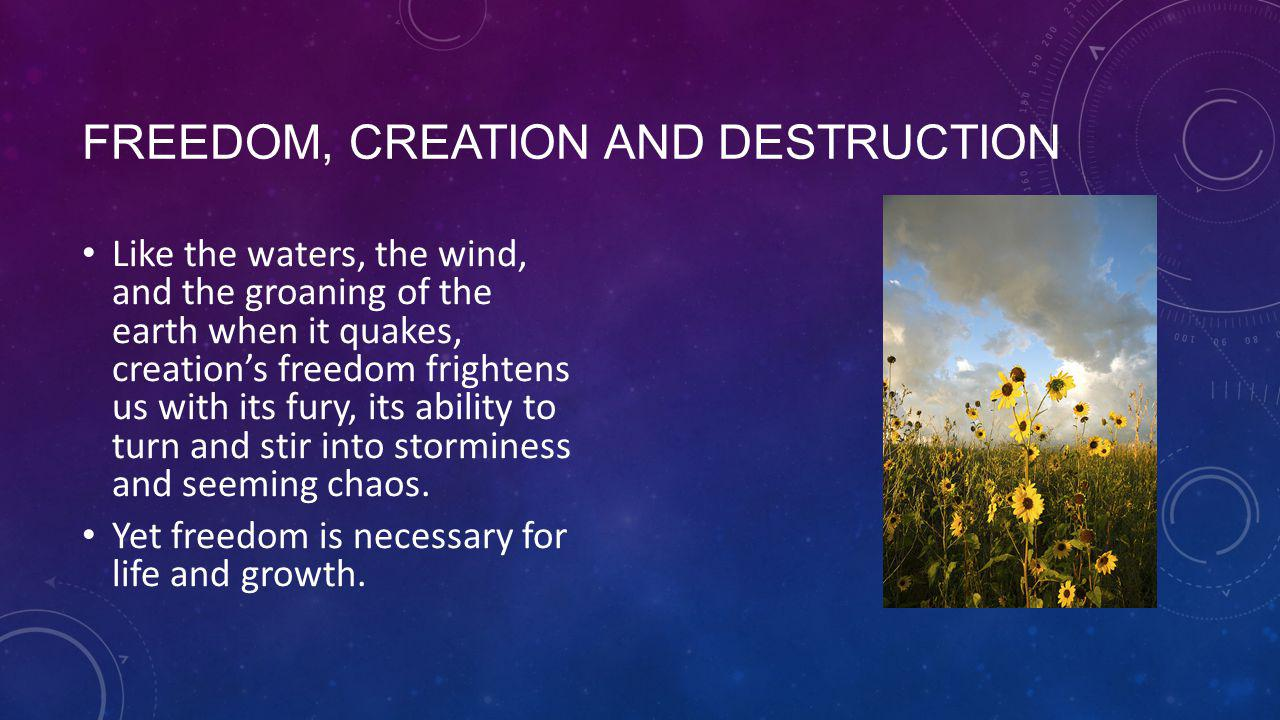 FREEDOM, CREATION AND DESTRUCTION Like the waters, the wind, and the groaning of the earth when it quakes, creation's freedom frightens us with its fury, its ability to turn and stir into storminess and seeming chaos.