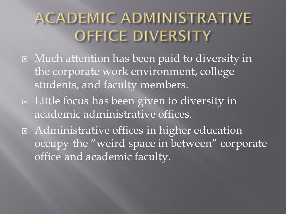  Much attention has been paid to diversity in the corporate work environment, college students, and faculty members.  Little focus has been given to