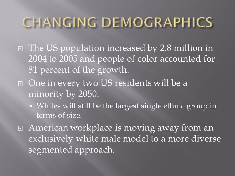  The US population increased by 2.8 million in 2004 to 2005 and people of color accounted for 81 percent of the growth.  One in every two US residen