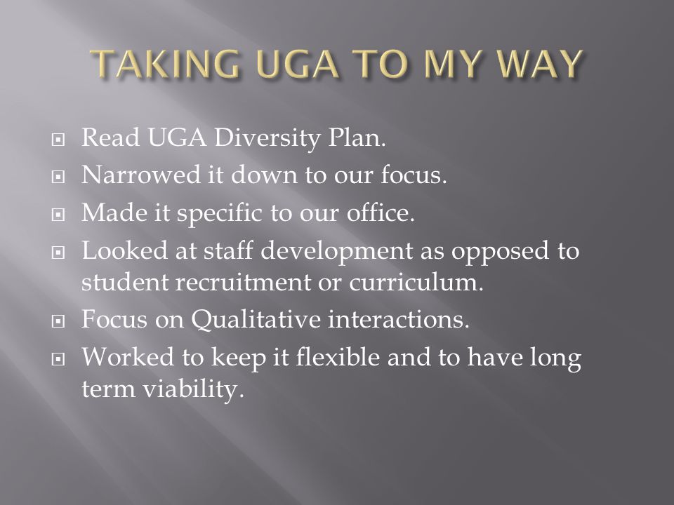  Read UGA Diversity Plan.  Narrowed it down to our focus.  Made it specific to our office.  Looked at staff development as opposed to student recr