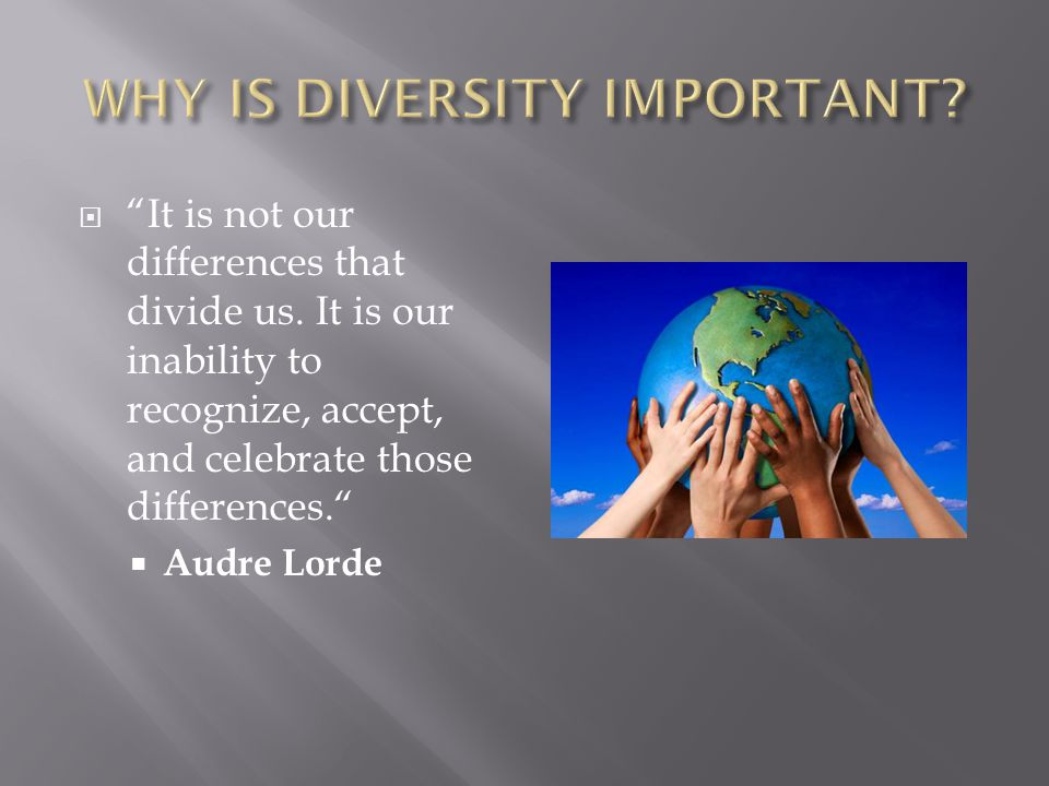 " ""It is not our differences that divide us. It is our inability to recognize, accept, and celebrate those differences.""  Audre Lorde"