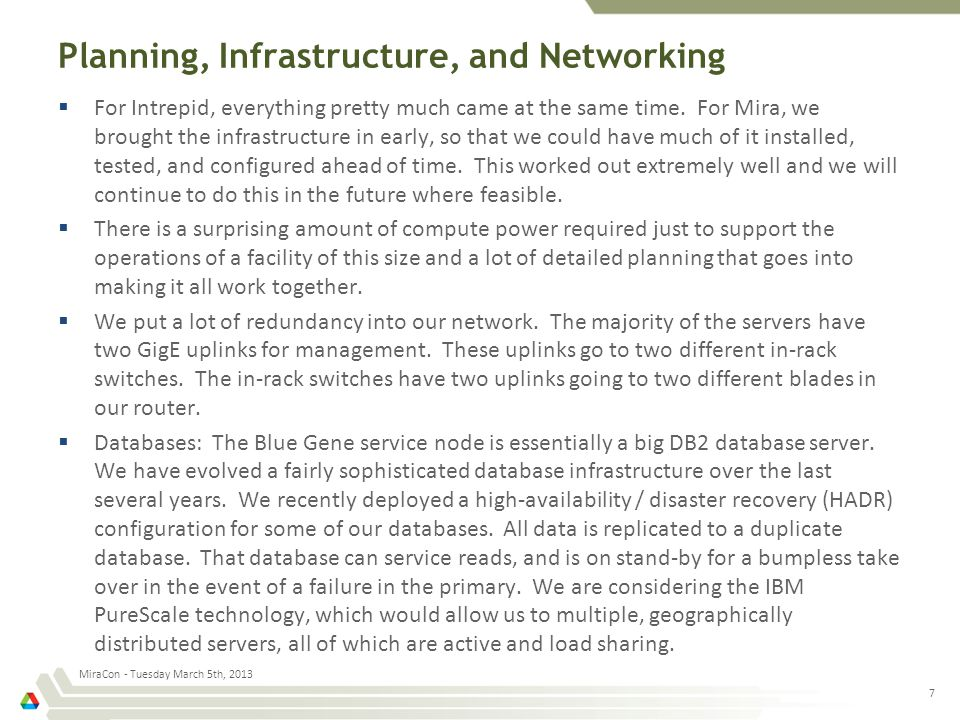Planning, Infrastructure, and Networking  For Intrepid, everything pretty much came at the same time.