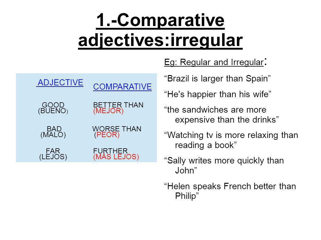 2.-Comparative adverbs:regular & irregular ADVERB IRREGULAR COMPARATIVE HARD HARDER WELL BETTER BADLY WORSE MUCHMORE MANYMORE LITTLELESS ADVERB REGULAR COMPARATIVE QUICKLY MORE QUICKLY SLOWLY MORE SLOWLY