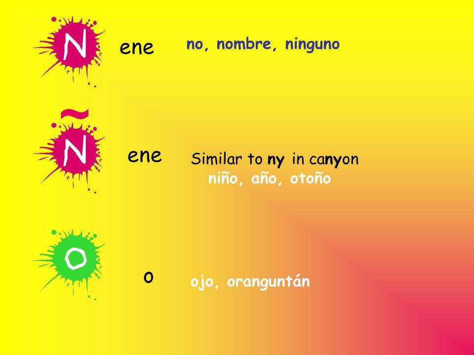 no, nombre, ninguno ene Similar to ny in canyon niño, año, otoño ene o ojo, oranguntán ~