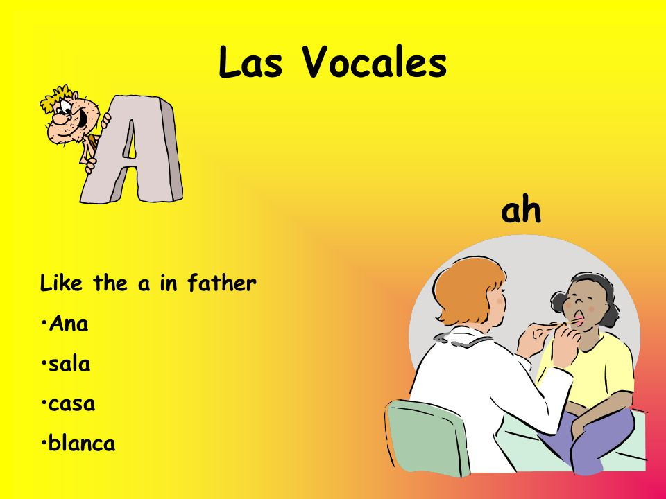 Las Vocales ah Like the a in father Ana sala casa blanca