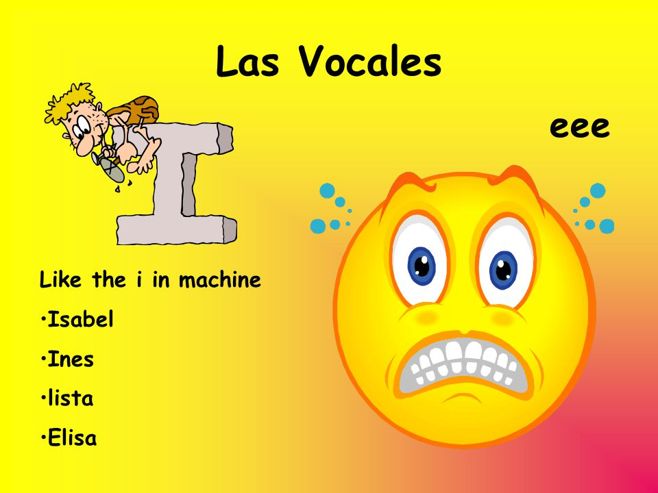 Las Vocales eee Like the i in machine Isabel Ines lista Elisa