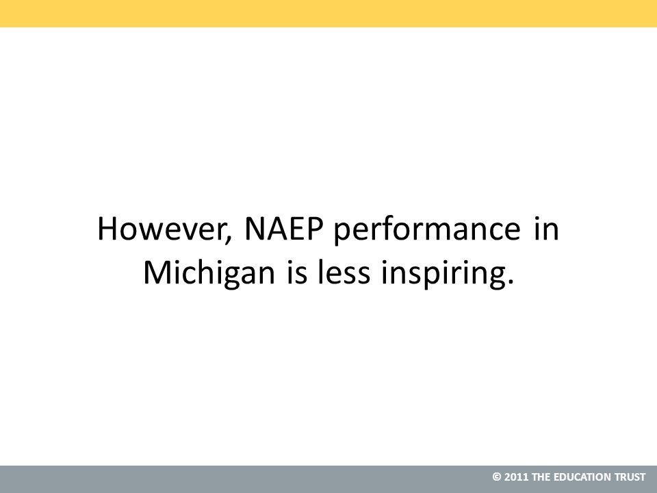 © 2011 THE EDUCATION TRUST However, NAEP performance in Michigan is less inspiring.