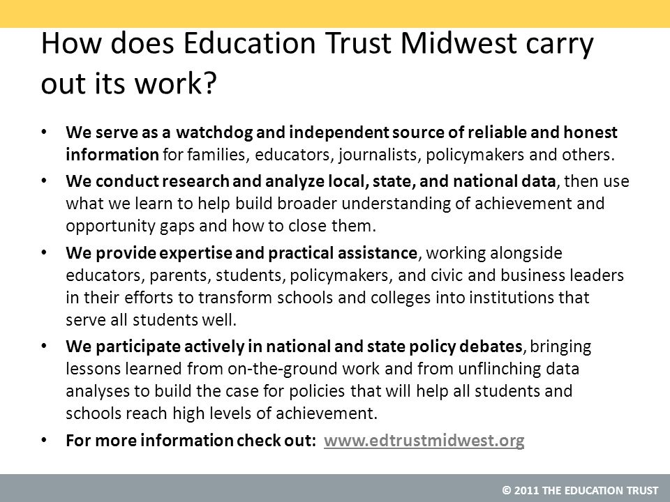 © 2011 THE EDUCATION TRUST And there's been little progress in our high schools