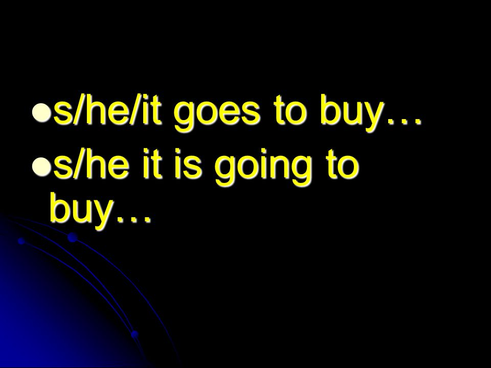 s/he/it goes to buy… s/he/it goes to buy… s/he it is going to buy… s/he it is going to buy…