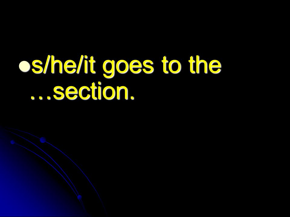 s/he/it goes to the …section. s/he/it goes to the …section.