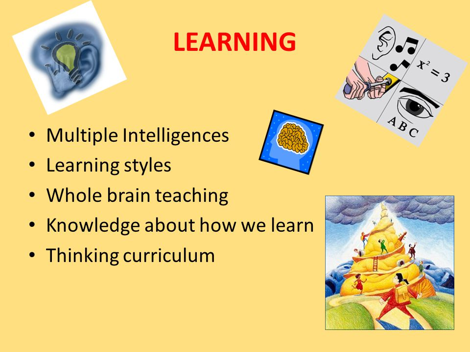 Multiple Intelligences Learning styles Whole brain teaching Knowledge about how we learn Thinking curriculum LEARNING