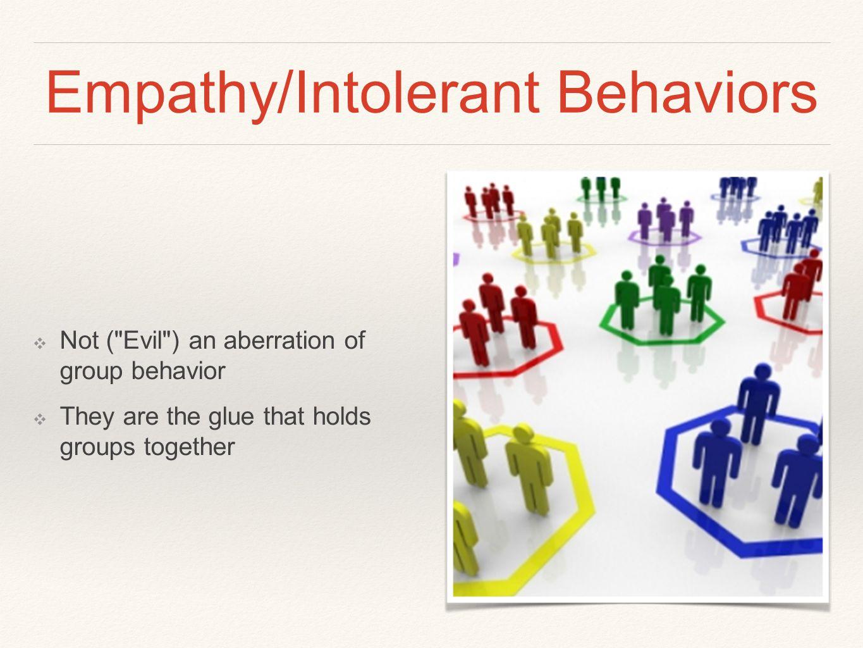 Empathy/Intolerant Behaviors ❖ Not (
