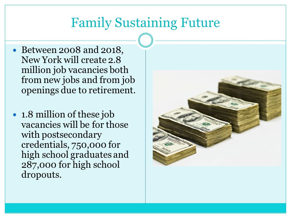 Family Sustaining Future Between 2008 and 2018, New York will create 2.8 million job vacancies both from new jobs and from job openings due to retirement.