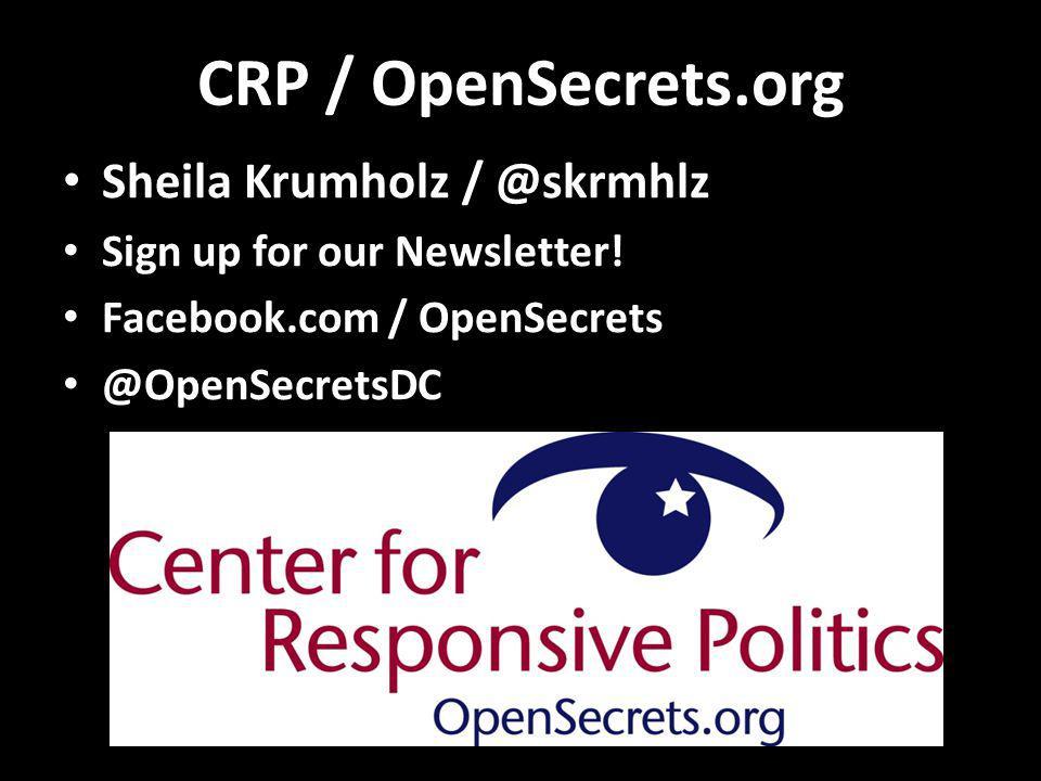 CRP / OpenSecrets.org Sheila Krumholz / @skrmhlz Sign up for our Newsletter.