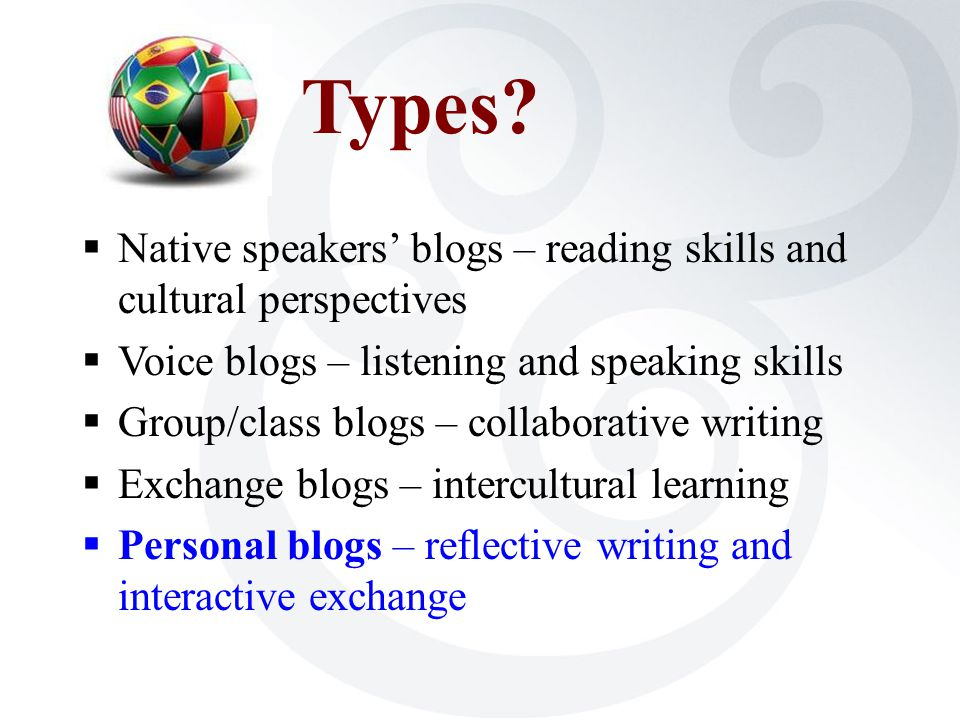 Types?  Native speakers' blogs – reading skills and cultural perspectives  Voice blogs – listening and speaking skills  Group/class blogs – collabo