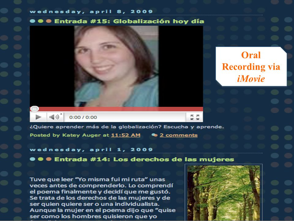 Oral Recording via iMovie Oral Recording via iMovie