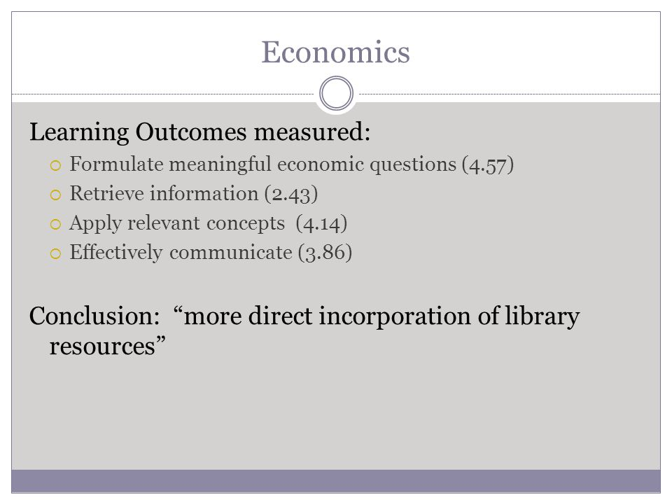 Economics Learning Outcomes measured:  Formulate meaningful economic questions (4.57)  Retrieve information (2.43)  Apply relevant concepts (4.14)  Effectively communicate (3.86) Conclusion: more direct incorporation of library resources
